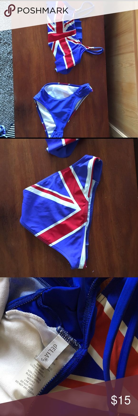 UK Swimsuit British flag on the top and on the back of the bottoms delia's Swim Bikinis