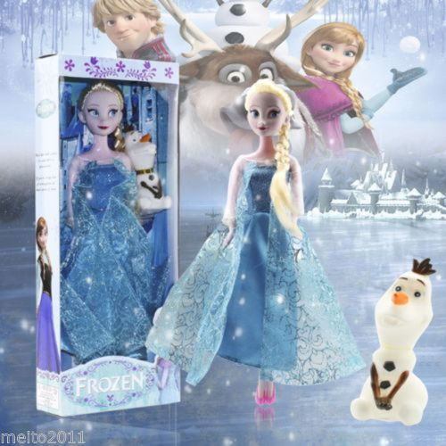 "12"" Hot Frozen Princess Queen Elsa Figures Set Stuff Dolls And Olaf Toy With Box #New"
