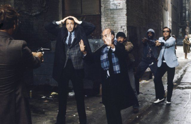 Taurean Blacque, Kiel Martin, Mario Roccuzzo, James Sikking, and Bruce Weitz in Hill Street Blues (1981)