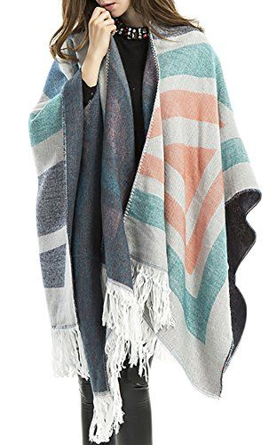 98fe7874105bb QZUnique Women's Tassels Shawl Pashmina V-neck Striped Knitted Poncho Top  Pullover Sweater Cape