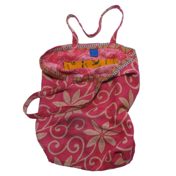 Pink Recycled Sari Bag