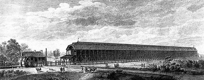 Vista del edificio de graduación de la Saline de Chaux. Lámina 9 de «L'architecture considérée sous le rapport de l'art, des mœurs et de la législation», París, 1804.