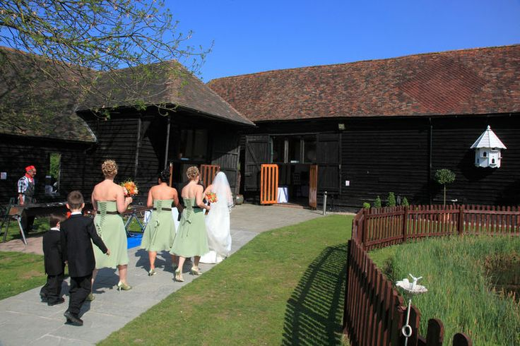 Bride arriving for a wedding at the Winters Barns