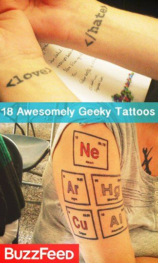 "18 Of The Most Awesomely Geeky Tattoos. ""Good thing need puke is awesome"".... Lol  #geekorize"