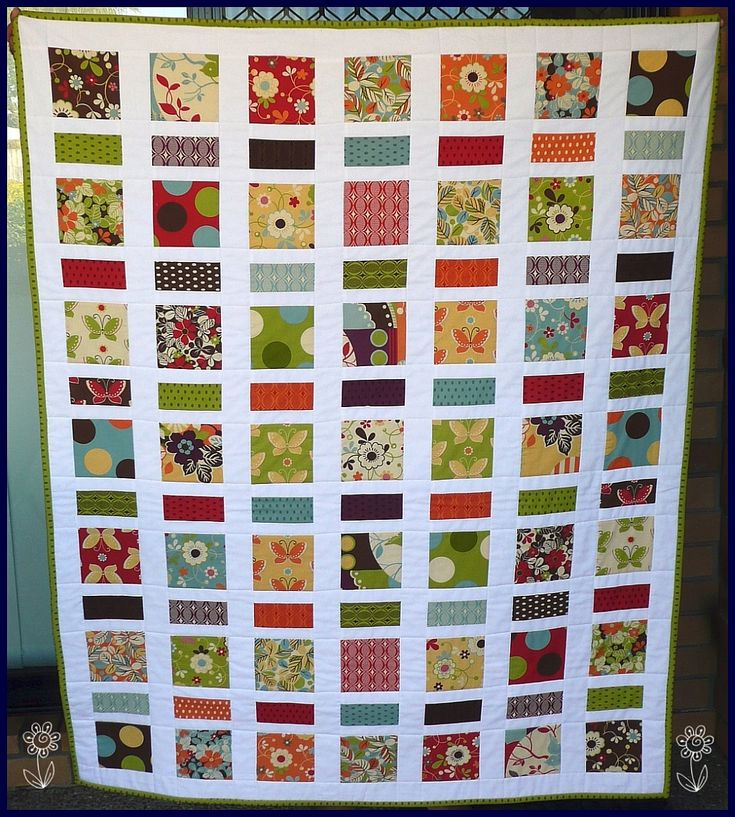 Ideas for 5 inch quilt squares. Cute! I love the crisp white separation