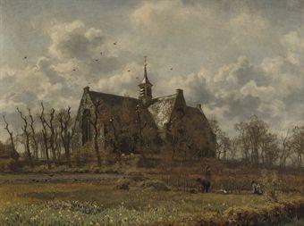 Kerk, Oegstgeest: the green church, Oegstgeest. Willem Bastiaan Tholen 1860-1931.