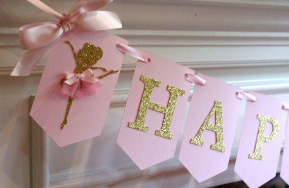 Banner de feliz cumpleaños bailarina, rosa y oro Ballerina Banner, partido bailarina, tutú bandera, tema de bailarina (bola-PG)