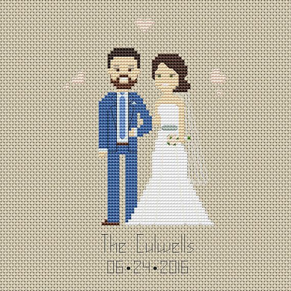 3rd Wedding Cotton anniversary Third anniversary 3 year anniversary Three year gift Wedding portrait Wedding portraits Custom portrait