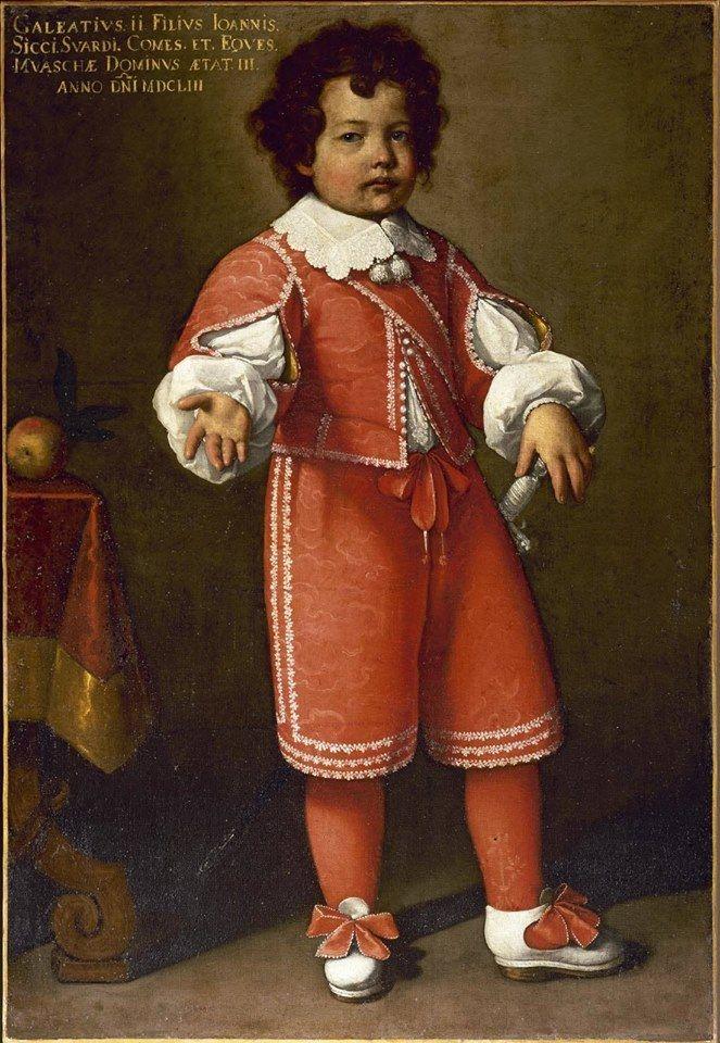 Ritratto di Galeazzo II Secco Suardo, Carlo Ceresa, 1653 #costume color fragola #collettone #merletti, #maniche a sbuffo #scarpine con nastri, Accademia Carrara