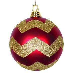 "6"" Matte-Glitter Chevron Ball-Red and Gold"