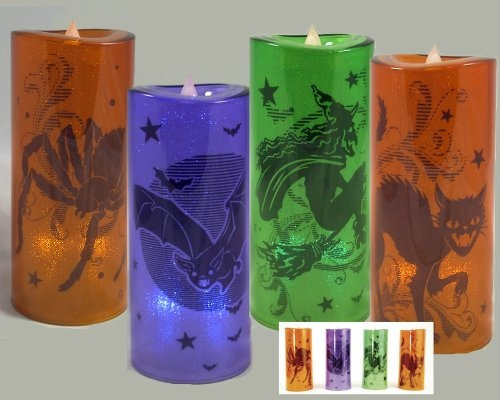 HALLOWEEN LED Flicker Candles Battery Operated WITCH BLACK CAT BAT SPIDER