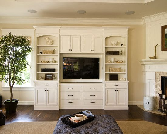 Built in entertainment center with white design pictures for White cabinet living room
