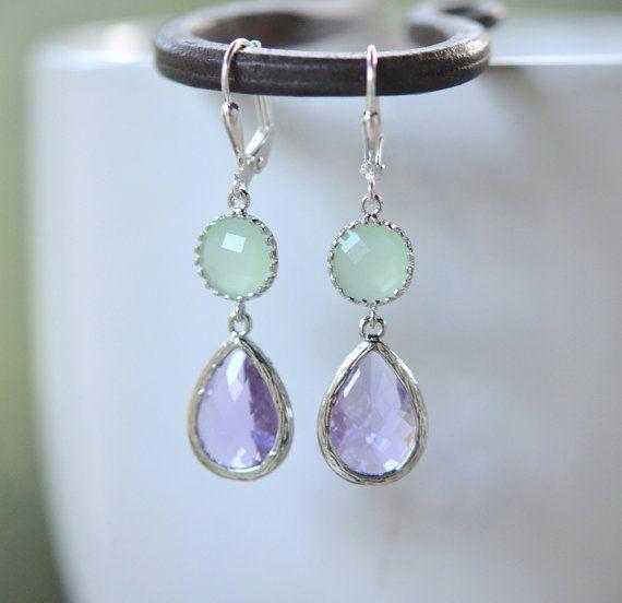 Lavender Teardrop and Mint Jewel Drop Earrings in Silver by RusticGem. Bridesmaids Earrings.