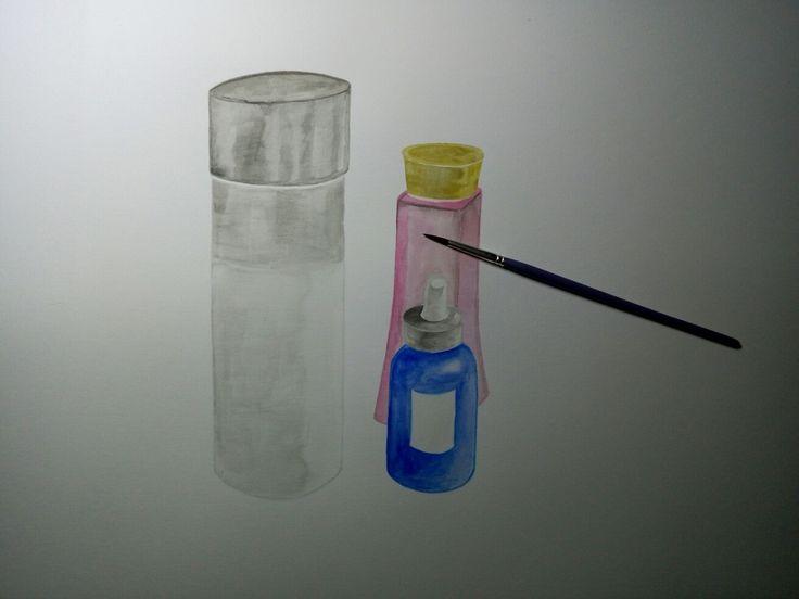 Watercolour drawing:toner. (process)
