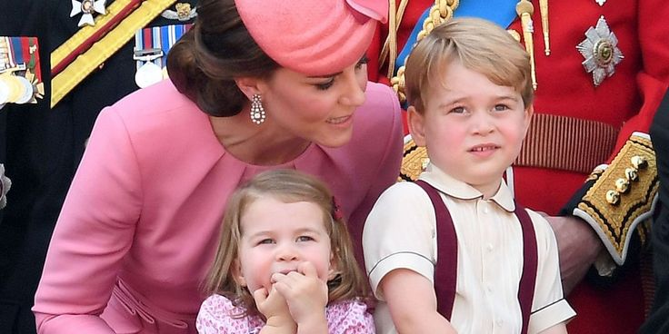 British Princess Kate explaining to her children,  Prince George & Princess Charlotte about activities happening to celebrate Queen Elizabeth's, their grandmother's, Birthday celebrations in Britain.