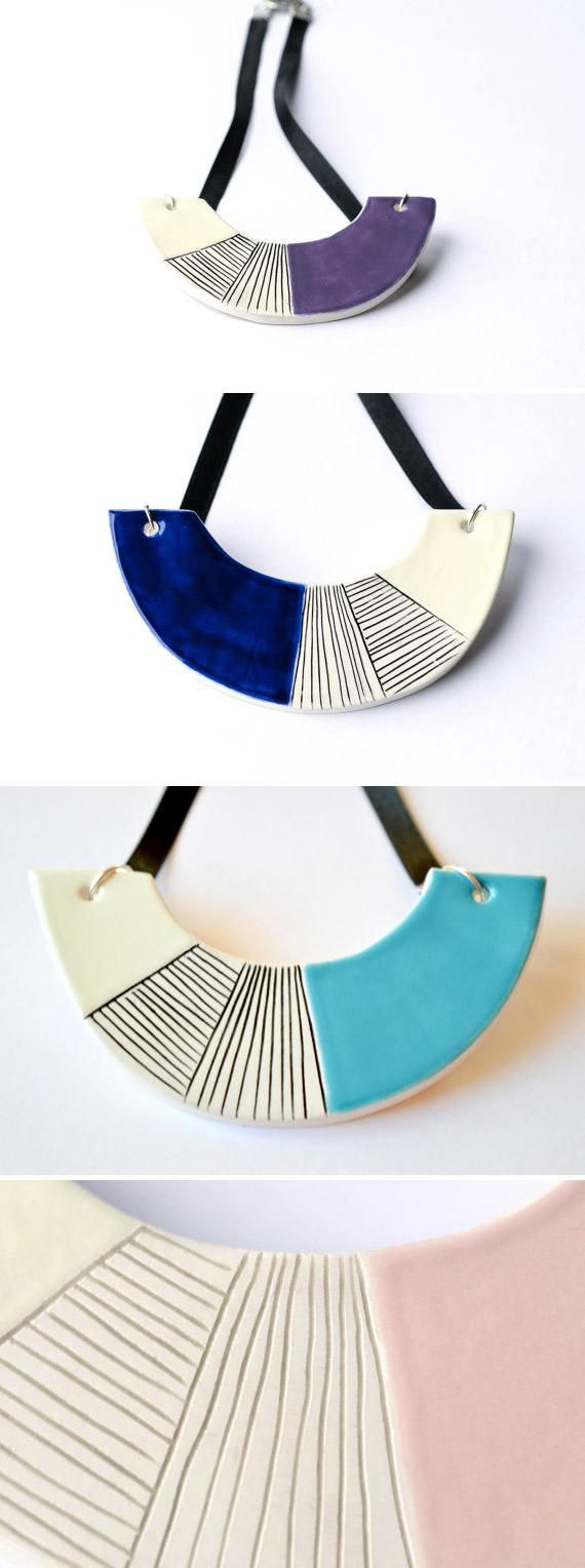 Jewelry designer IsaClay's hand-carved ceramic necklaces are really growing on us. #etsy