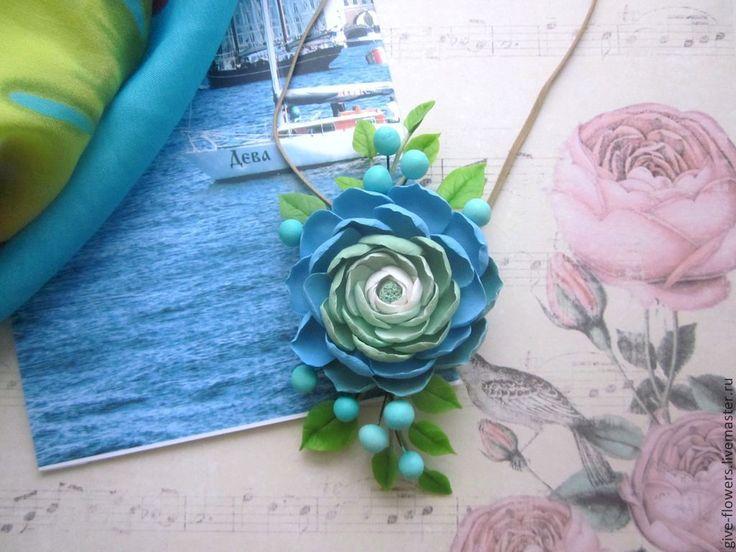 """Купить Кулон """"Нежность""""  из полимерной глины - бирюзовый, голубой, бирюзово-синий, бирюзово-зеленый, кулон"""