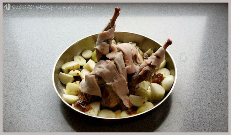 www.slodko-slony.blogspot.com - bażant pieczony z cebulą / roasted pheasant with onion