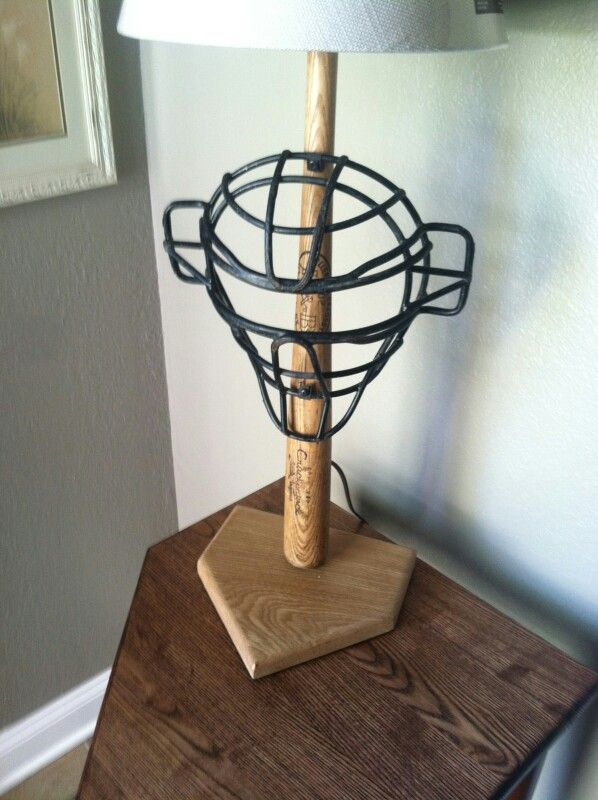 Repurposed Baseball Bat And Catchers Mask Lamp