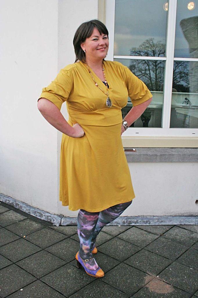 Kleren van Toontje, gele jurk, Toontje, retro, grote maten mode, wondervol