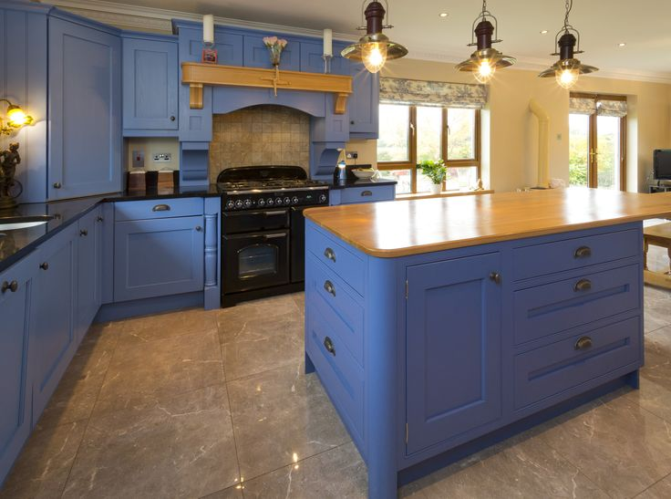A Classical Concealed Hinge Kitchen And In Frame Island With Shaker Style Door Painted Lulworth Blue 89 By Farrow Ball The Oak Worktop