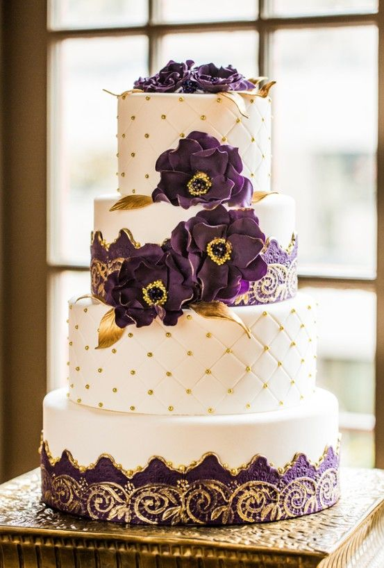 27 Spectacular Wedding Cake Ideas Nuptial Schemes Pinterest Cakes And Purple Gold