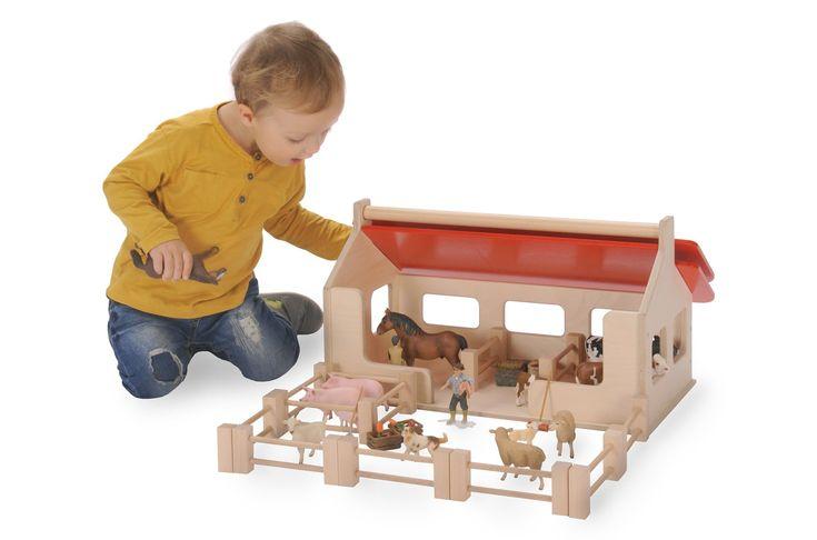 Bauernhof Spielset aus Holz Bätz  Anhand des tollen Bauernhof Spielset aus Holz von Bätz können Kinder ab 3 Jahre das Landleben kennenlernen. Der Bauernhof kann bestückt und gestaltet werden. Das Kind kann einzelne Zaunelemente aufstellen.  Dach aufklappbar. Alle Spielfiguren oder Tiere können in das Haus geräumt werden. Alle Lacke des Bauernhof Spielset sind ungiftig und widerstandsfähig. https://www.precogs.de/epages/80978706.sf/de_DE/?ObjectPath=/Shops/80978706/Products/180188