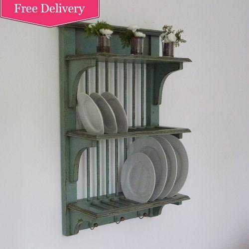 vintage grey blue wall mounted plate rack beau decor decorating pinterest vintage. Black Bedroom Furniture Sets. Home Design Ideas
