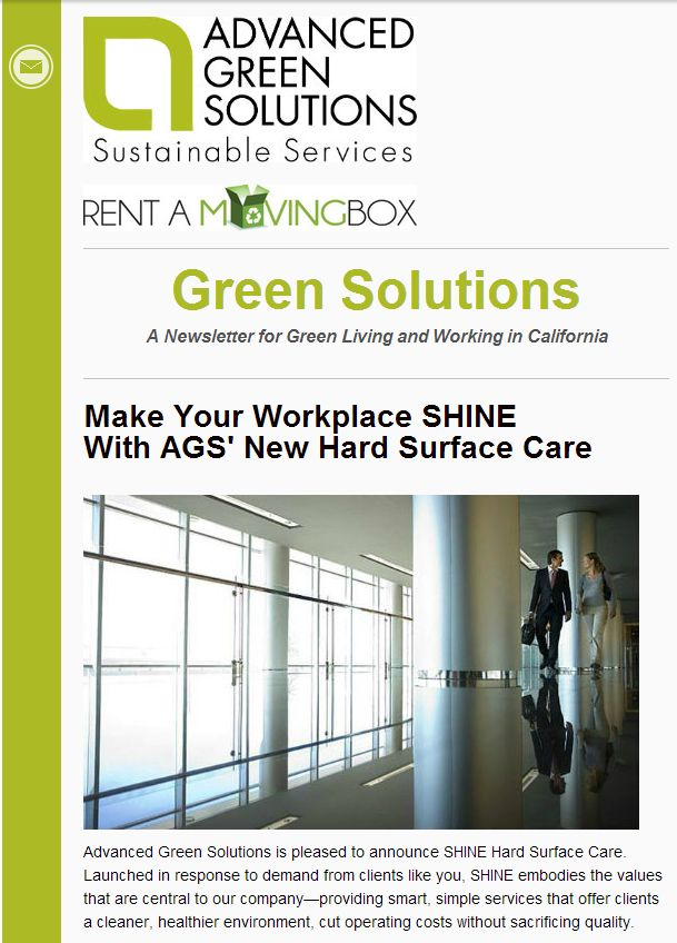 The July 2014 issue of Green Solutions newsletter features stories on building health and safety, green moving tips, how to make your workplace SHINE with AGS' new hard surface care, and other informative pieces on sustainable practices in the workplace and at home. http://eepurl.com/Xxs_r  #green #sustainable #sustainableservices