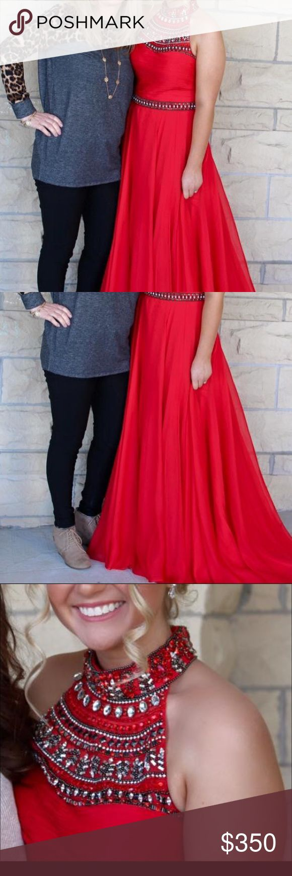 Sherri Hill Red Prom/Court Dress Prom is just around the corner!! I am selling my Red Sherri Hill prom/court dress. Great condition. Bought for over $650 selling for $350. Size 12 altered down and sherri hill runs small. Sherri Hill Dresses Prom