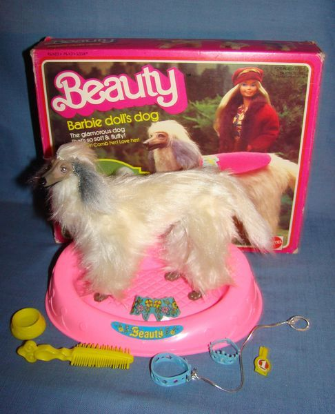 1979 Beauty, Barbie's Afghan Dog. Always wanted this, but ended up with the plastic collie (which probably lasted longer than this one would have!)