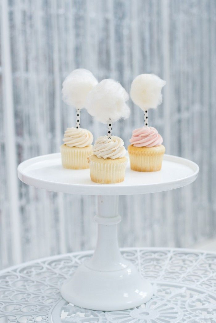 cotton candy topped cupcakes!  soooo sweet!  ~  we ❤ this! moncheribridals.com: