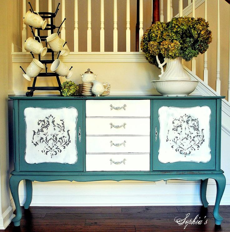 Painted #Sideboard in MMS Kitchen Scale Milk Paint #PaintedFurniture #Blue