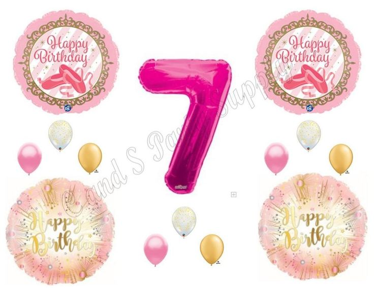 TWINKLE TOES 7TH Pink Gold Birthday Party Balloons Decoration Supplies Ballerina #Anagram #BirthdayChild