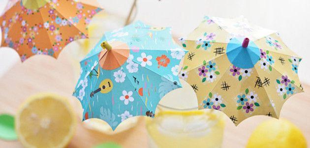 Sombrillitas de papel para decorar bebidas #manualidades