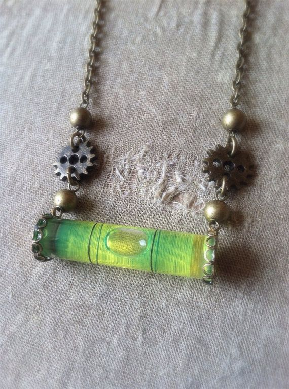 Steampunk Necklace Carpenters Bubble Level by LithiasCreations, $25.00 http://www.etsy.com/listing/159843877/steampunk-necklace-carpenters-bubble?utm_source=Pinterest&utm_medium=PageTools&utm_campaign=Share