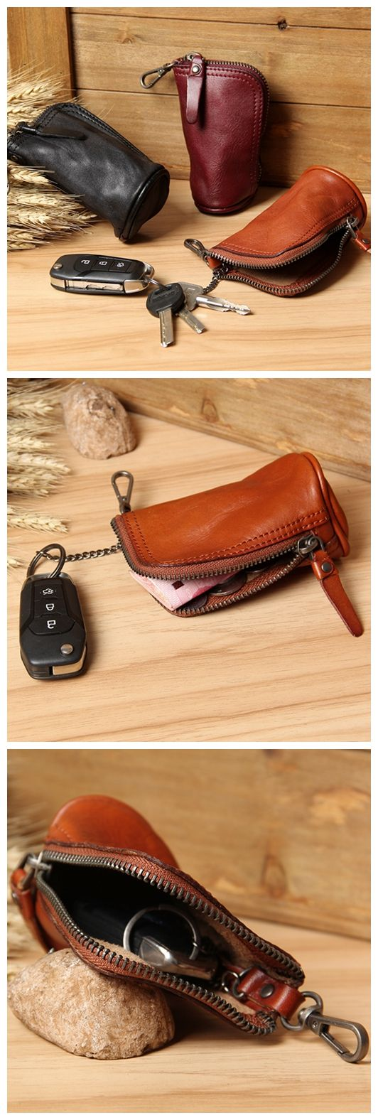 Handmade Genuine Leather Car Key Holder Leather Key Organizer Leather Key Chain Leather Case 2989 - Vintage Brown