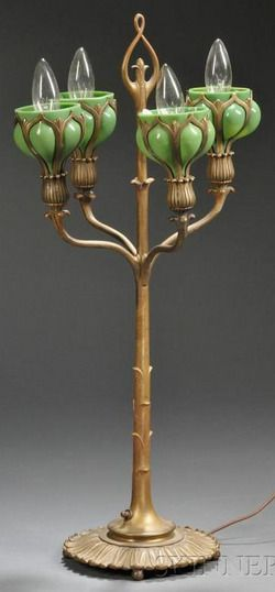 Table Lamp; Art Nouveau, Candelabra Form, Bronze, Glass Floriform Shades (4), 17 inch.