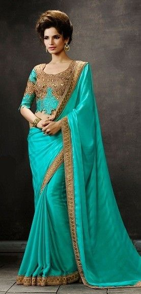 Sky Blue Georgette Saree with Zari,Resham Thread and Stone Work #bandbaajaa.com #bandbaajaa #weddingsarees #weddingsaris #bridalsarees #bridalsaris #designersarees #designersaris #sarees #saris #weddingwear #weddingshopping