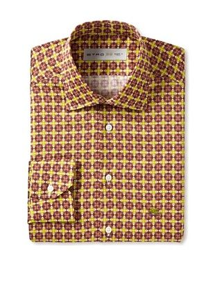 Etro Men's Spread Collar Geometric Pattern Long Sleeve Shirt