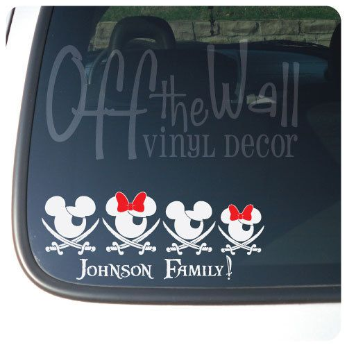 Customize able mickey minnie pirate family for cars trucks vehicle vinyl decal sticker