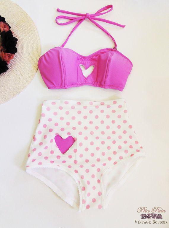 High Waist Bikini white background sweet pink by PitaPataDiVa