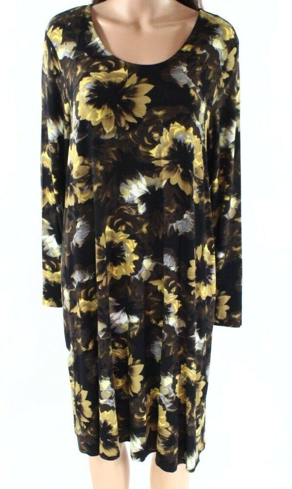 3b3850285ac Grace NEW Yellow Womens Size 1X Plus Floral-Print Jersey Shift Dress $88  672 #