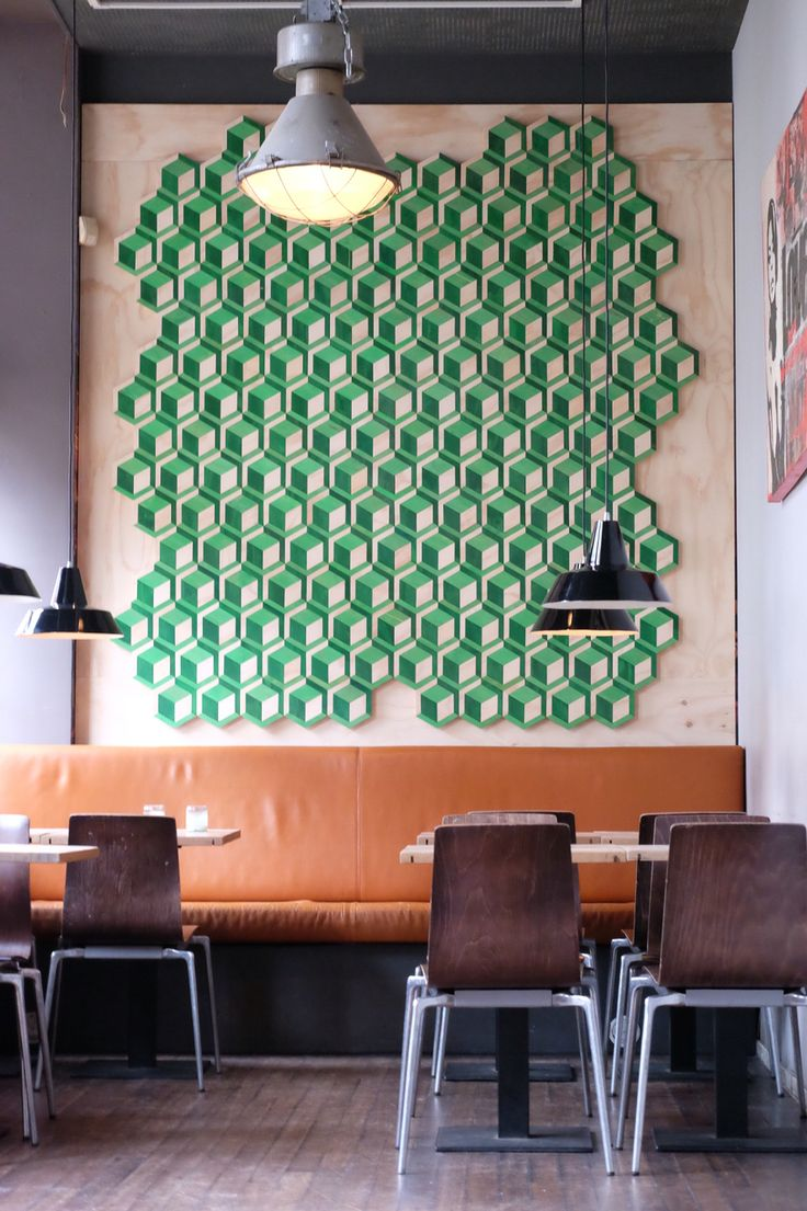 Milo's Makerij on your wall!! Wall mosaic wood.. In restaurant Van Beinum, Haarlem, the Netherlands