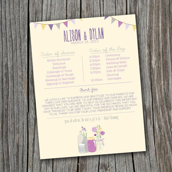Wedding Order of Service  Printable Custom DIY  by SplashOfSilver, $35.00