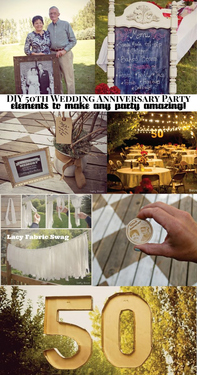 Elements of a DIY anniversary party- so many amazing ideas to make any party fabulous!