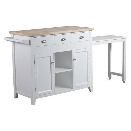 Piece Sheridan Kitchen Cart Wood White Linon Home Decor