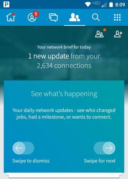 linkedIn App network updates