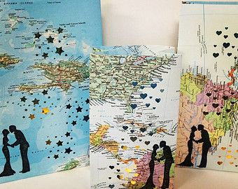 1 Custom Map Luminary Travel Themed Maps by Oldendesigns on Etsy