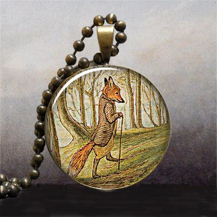 Tale of Mr. Tod Fox art pendant charm, fox necklace resin pendant, fox jewelry, fox jewellery